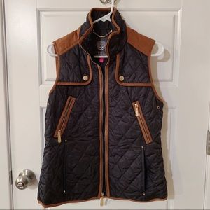 Vince Camuto Quilted Vest Navy & Brown